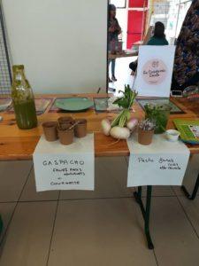 Dégustation de gaspacho et de pesto à base de produits oubliés